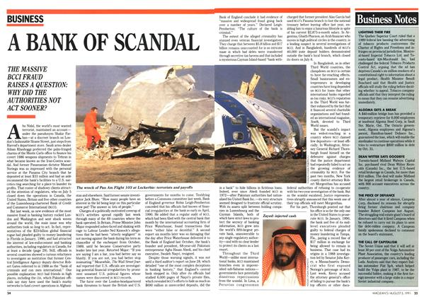 Article Preview: A BANK OF SCANDAL, August 1991 | Maclean's