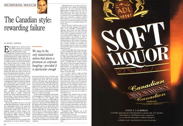 Article Preview: The Canadian style: rewarding failure, August 1991 | Maclean's