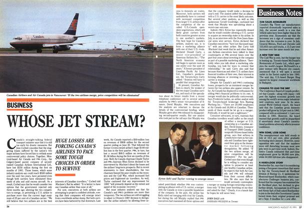 Article Preview: WHOSE JET STREAM?, August 1991 | Maclean's