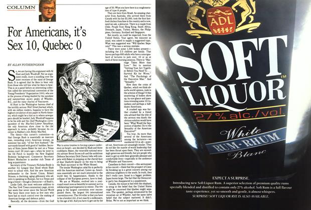 Article Preview: For Americans, it's Sex 10, Quebec 0, August 1991 | Maclean's