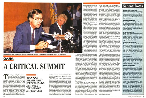 Article Preview: A CRITICAL SUMMIT, August 1991   Maclean's