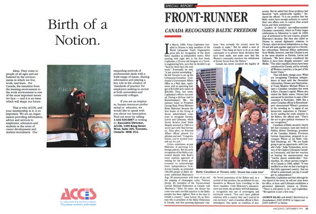 Article Preview: FRONT-RUNNER, September 1991 | Maclean's