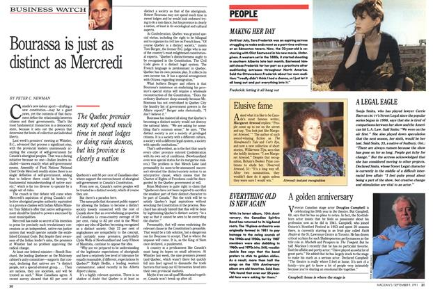 Article Preview: Bourassa is just as distinct as Mercredi, September 1991 | Maclean's