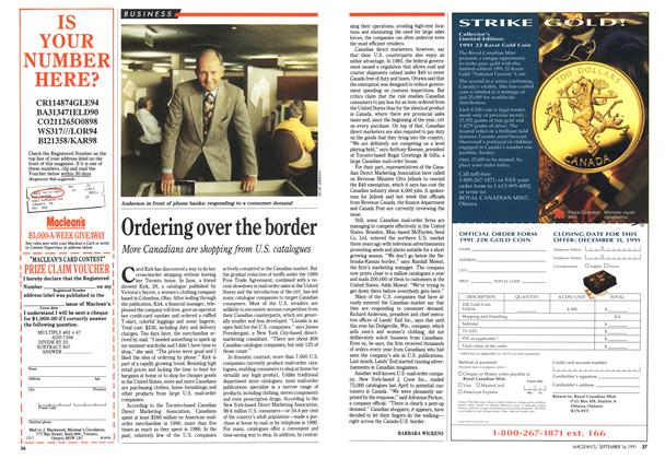 Article Preview: Ordering over the border, September 1991 | Maclean's