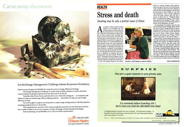 Article Preview: Stress and death, September 1991 | Maclean's