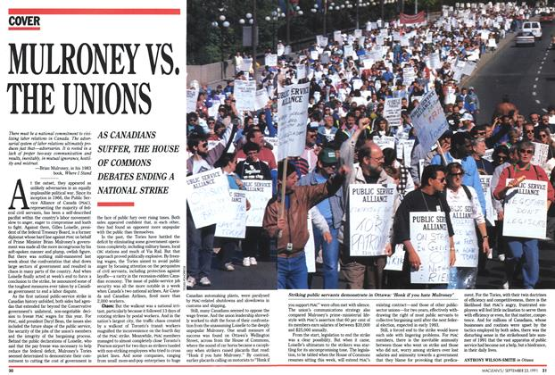 Article Preview: MULRONEY VS. THE UNIONS, September 1991 | Maclean's