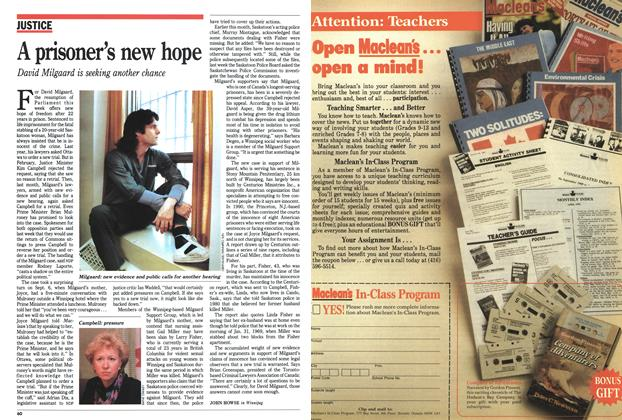 Article Preview: A prisoner's new hope, September 1991 | Maclean's