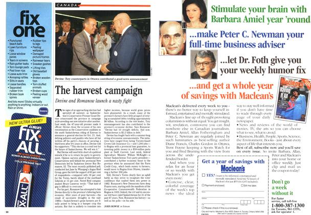 Article Preview: The harvest campaign, September 1991   Maclean's