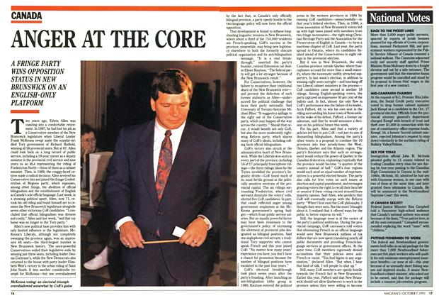 Article Preview: ANGER AT THE CORE, October 1991 | Maclean's