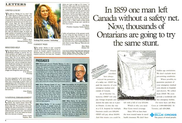 Article Preview: LETTERS, October 1991 | Maclean's