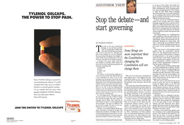 Article Preview: Stop the debate—and start governing, October 1991 | Maclean's
