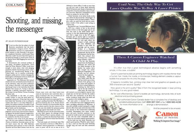Article Preview: Shooting, and missing, the messenger, October 1991 | Maclean's