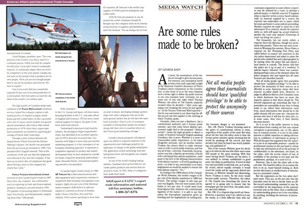 Article Preview: Are some rules made to be broken?, October 1991 | Maclean's