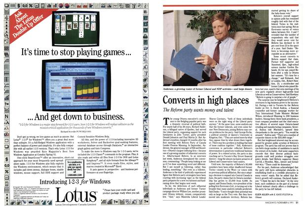 Article Preview: Converts in high places, November 1991 | Maclean's