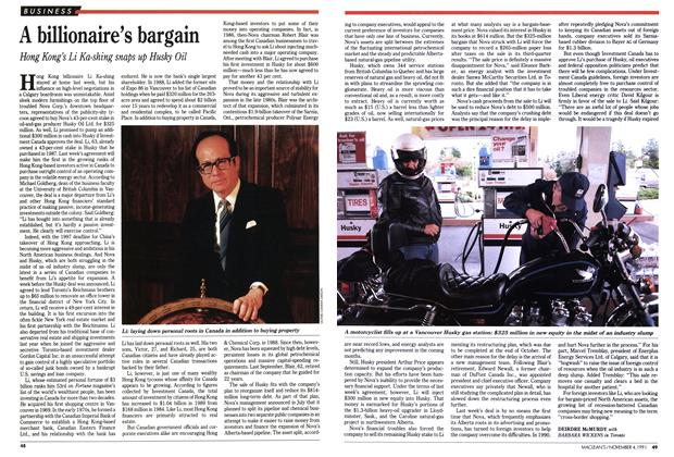 Article Preview: A billionaire's bargain, November 1991 | Maclean's