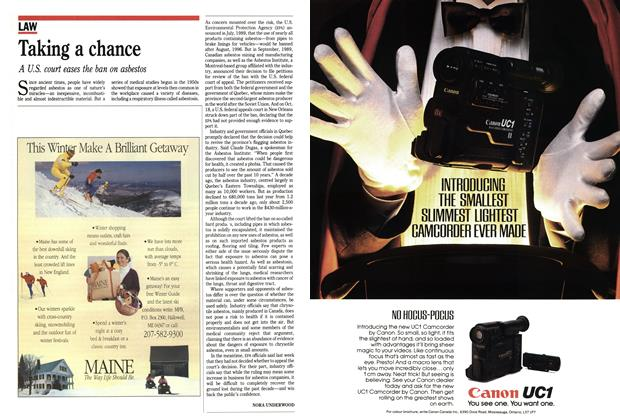 Article Preview: Taking a chance, November 1991 | Maclean's