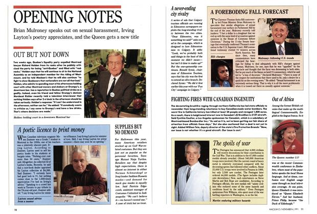 Article Preview: OPENING NOTES, November 1991 | Maclean's