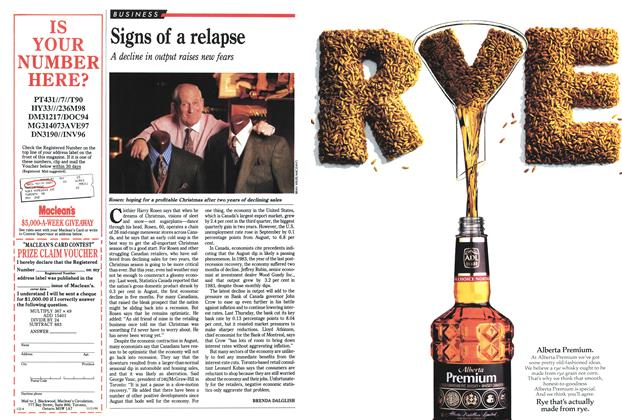 Article Preview: Signs of a relapse, November 1991 | Maclean's