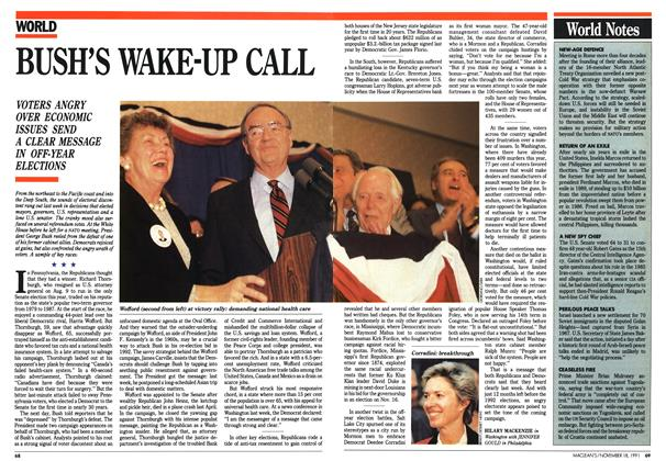 Article Preview: BUSH'S WAKE-UP CALL, November 1991 | Maclean's