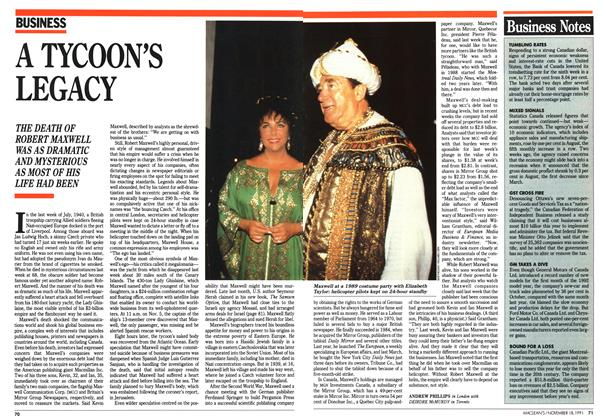 Article Preview: A TYCOON'S LEGACY, November 1991 | Maclean's