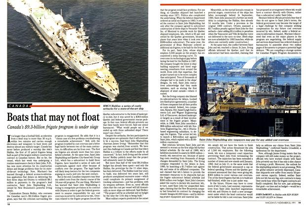 Article Preview: Boats that may not float, November 1991 | Maclean's