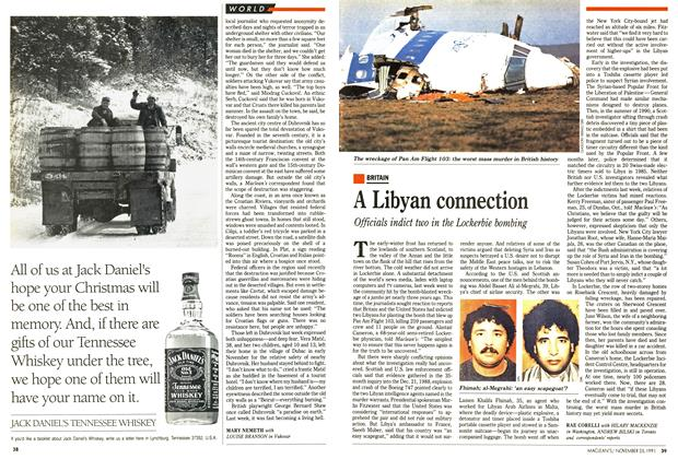 Article Preview: A Libyan connection, November 1991 | Maclean's