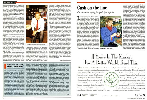 Article Preview: Cash on the line, November 1991 | Maclean's