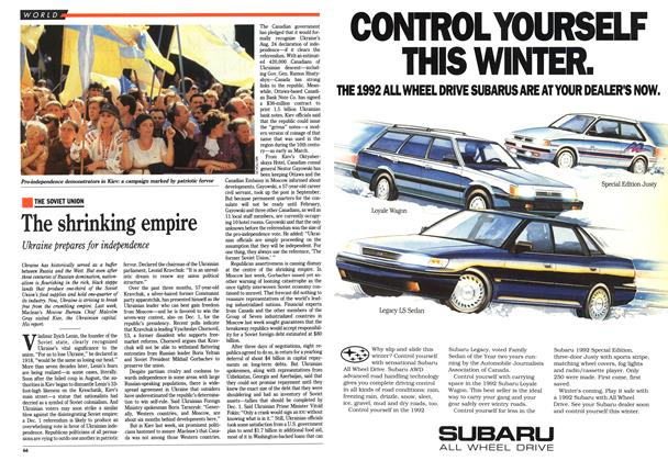 Article Preview: The shrinking empire, December 1991 | Maclean's