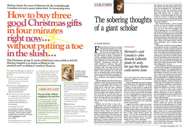 Article Preview: The sobering thoughts of a giant scholar, December 1991 | Maclean's