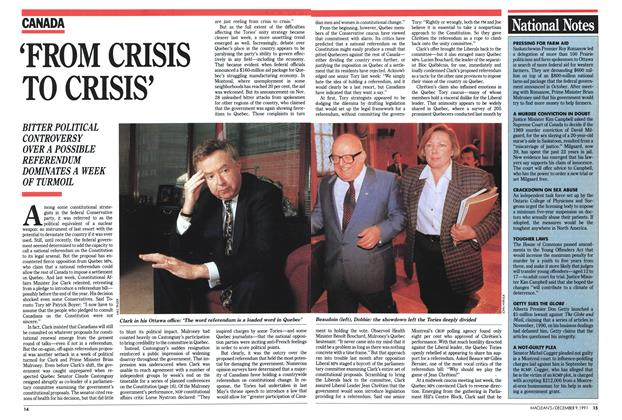 Article Preview: 'FROM CRISIS TO CRISIS', December 1991 | Maclean's