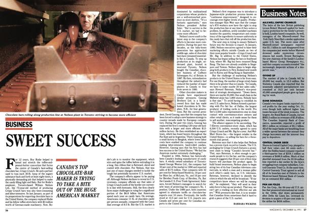 Article Preview: SWEET SUCCESS, December 1991 | Maclean's