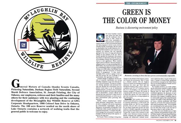 Article Preview: GREEN IS THE COLOR OF MONEY, December 1991 | Maclean's