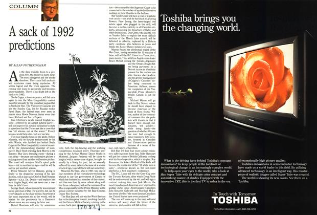 Article Preview: A sack of 1992 predictions, December 1991 | Maclean's