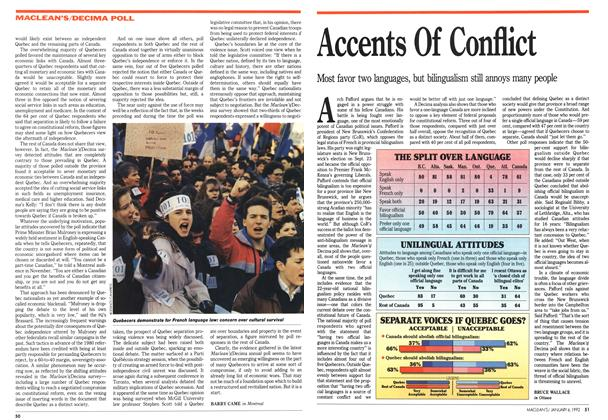 Article Preview: Accents Of Conflict, January 1992 | Maclean's