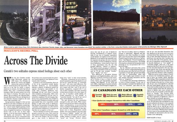 Article Preview: Across The Divide, January 1992 | Maclean's