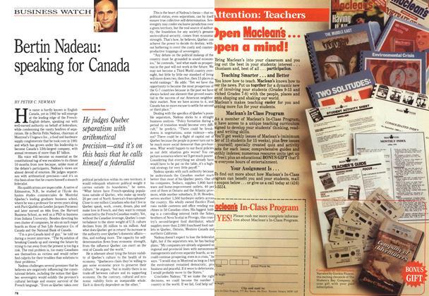 Article Preview: Bertin Nadeau: speaking for Canada, January 1992 | Maclean's