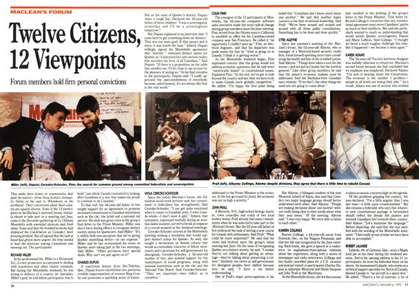 Article Preview: Twelve Citizens, 12 Viewpoints, January 1992 | Maclean's