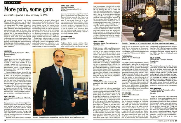 Article Preview: More pain, some gain, January 1992 | Maclean's