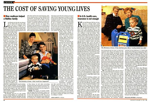 Article Preview: THE COST OF SAVING YOUNG LIVES, January 1992 | Maclean's