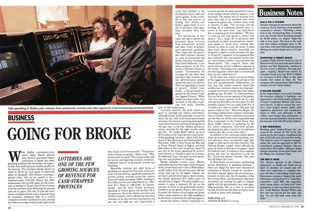 Article Preview: GOING FOR BROKE, January 1992 | Maclean's