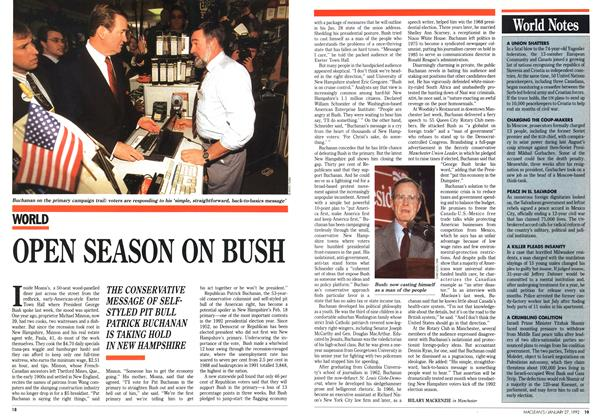 Article Preview: OPEN SEASON ON BUSH, January 1992 | Maclean's