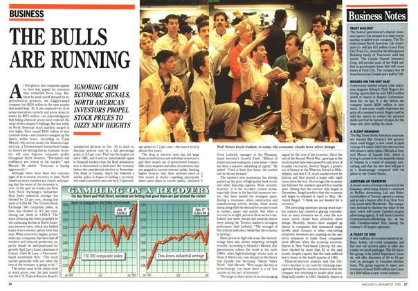 Article Preview: THE BULLS ARE RUNNING, January 1992 | Maclean's