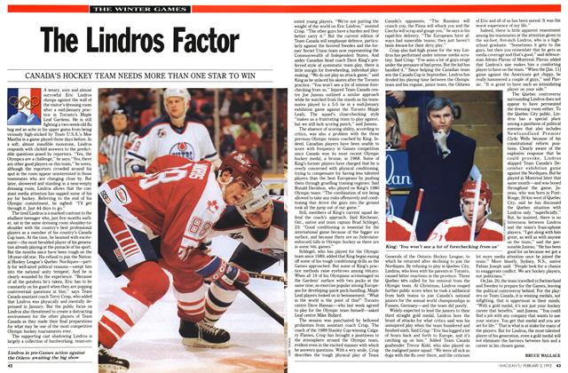 Article Preview: The Lindros Factor, February 1992 | Maclean's