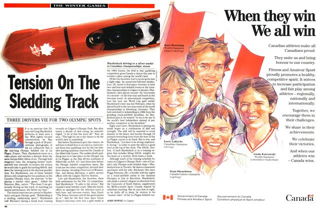 Article Preview: Tension On The Sledding Track, February 1992 | Maclean's