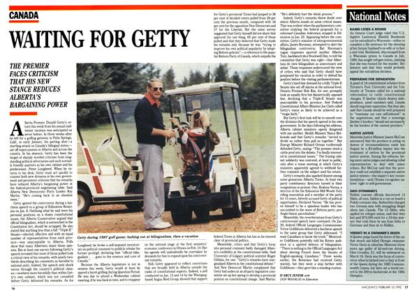 Article Preview: WAITING FOR GETTY, February 1992 | Maclean's