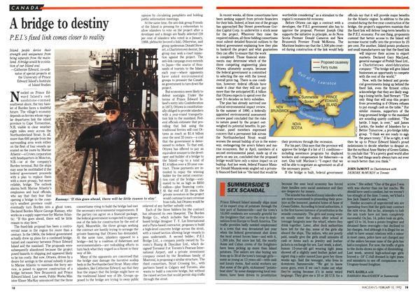 Article Preview: A bridge to destiny, February 1992 | Maclean's