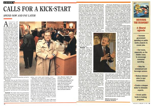 Article Preview: CALLS FOR A KICK-START, February 1992 | Maclean's