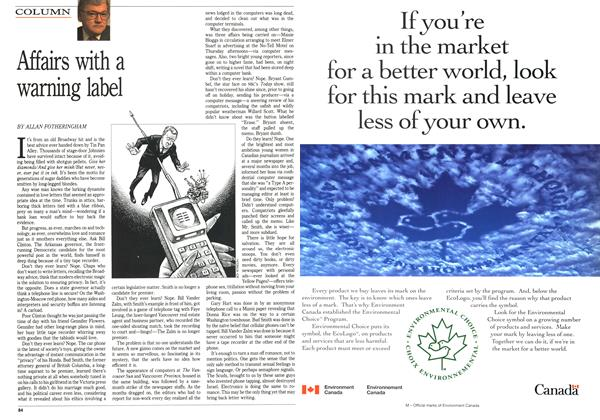 Article Preview: Affairs with a warning label, February 1992 | Maclean's