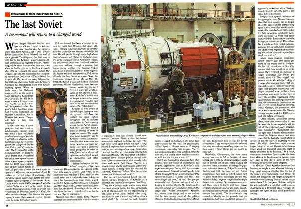 Article Preview: The last Soviet, February 1992 | Maclean's