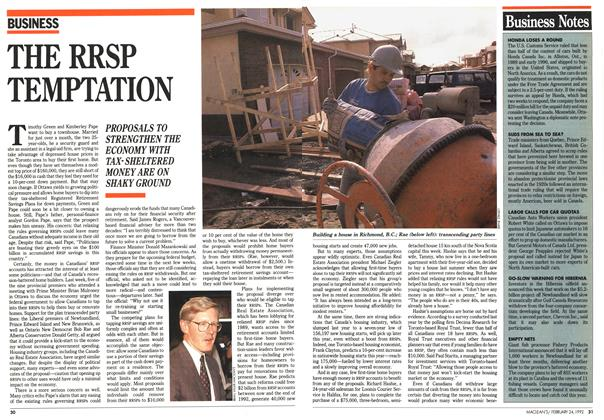 Article Preview: THE RRSP TEMPTATION, February 1992 | Maclean's